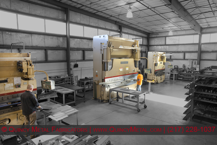 CNC press brakes at Quincy Metal Fabricators, with our largest being a 12-foot wide, 230 ton Form Master